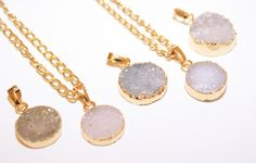 Mini Druzy Gold Necklace Druzy Necklace by PoppyKittenDesigns