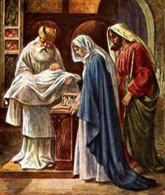 Baby Jesus is presented to the temple 40 days after his birth