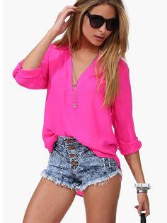Partiss Damen Candy Loose Chiffon Basic V-Ausschnitt T-Shirt Bluse Shirt Top Cheap Blouses, Red Blouses, Blouses For Women, Fashion Blouses, Blouse Sexy, Blouse Dress, Long Blouse, Blue Blouse, Floral Blouse