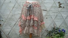 Mori girl Skirt Floral Print Upcycled Skirt Woman's Clothing Beige Peach Lagenlook Tribal Cotton Layers Woodland Bohemian Kei