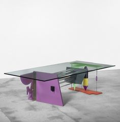 PETER SHIRE Eight Rod Float Table USA, 1984 enameled steel, anodized aluminum, glass 60 w x 30 d x 16.5 h inches