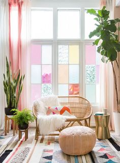 Gila DIY Window Film Happy Bright Pastel Emily Henderson Bamboo Seating Area