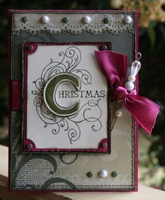 "SU Illuminations Christmas ""Stampin' Up! Illuminations set last night, turning the Cherish word into 'Christmas' using one of the stamps in the Stampin' up! Many Merry Messages set. """