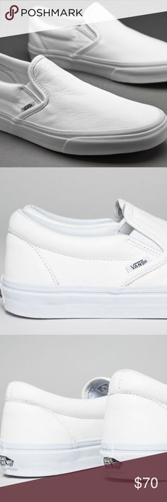 Shop Men s Vans White size Shoes at a discounted price at Poshmark.  Description  Vans Classic Slip-On Premium Leather in True White Mono. Size  Mens   Womens ... c880f2f16