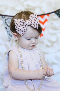 Beige and Brown chiffon hair bow Headband Polka Dot vintage flower baby headband