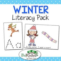 This is a set of fun hands-on Literacy activities for Winter. These can be used in Centers and/or Small Group. Just print, laminate, and cut.   Literacy Activities Included: *Winter I Spy (Listening Skills, Visual Discrimination) *Write the Room (2 Games) *Letter Dry Erase Cards (Tracing & Writing Practice) *Emergent Reader (Color & B&W) *Beginning Letter Sounds Game *Rhyming Game Cards *Sequencing Cards (Making Hot Chocolate)  You might also be interested in: Winter Math ...