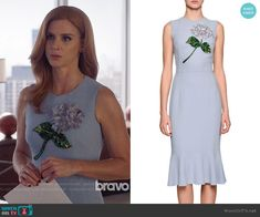 Donna's blue dress with embellished flower on Suits.  Outfit Details: https://wornontv.net/96060/ #Suits