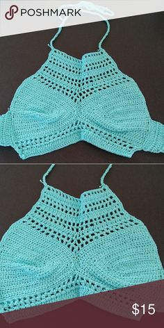 Bikini top 🆕HOBO crochet sea blue/green bikini/crop top....ties around neck & back. Very sexy & sensual. Wear as a bikini top or wear with cutoffs...👙👙👙👙 Swim Bikinis
