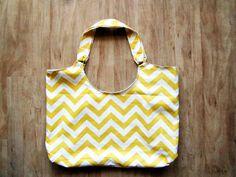 Yellow White Striped Chevron Beach/ Picnic/ Grocery Tote