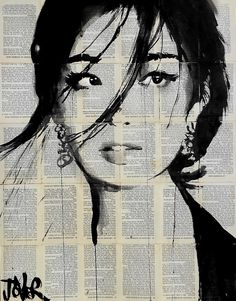 "Urchin by Loui Jover. Jover creates his pen and ink drawings on vintage book paper because he believes that it adds to the fragility of the works, saying ""the wind may blow them away at any moment."" Also, juxtaposing the stark black lines with the intricate printed words offers ""a strange fusion and depth that seems to give the images a kind of 'meaning' and back story, even though unconnected in a contrived way."""