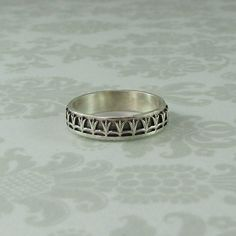 Tulip Crown Wedding Band in Sterling Silver by Kryzia Kreations: Nature, mythic, vintage style artisan jewelry $160.00