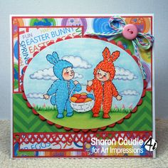 Art Impressions Rubber Stamps: Basket Bunnies (Sku#Q4021) Ai Easter.  Handmade card.