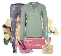 """""""Playful Pastels"""" by kris-ashley ❤ liked on Polyvore featuring New Growth Designs, McQ by Alexander McQueen, Mavi, Yves Saint Laurent, Casadei, Floozie by Frost French, Alex Monroe and Kate Spade"""