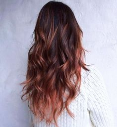 17 Stunning Examples of Balayage Dark Hair Color - Style My Hairs Hair Color Auburn, Ombre Hair Color, Hair Color Balayage, Cool Hair Color, Long Auburn Hair, Copper Balayage, Haircolor, Winter Hairstyles, Cool Hairstyles