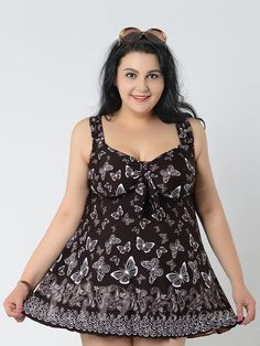 Brown Butterfly Conservative Colorful Printed High Elasticity Plus Size Swimsuit With Little Skirt Lidyy1605241066