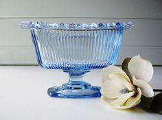 Blue Glass Bowl Candy Dish Indiana Glass by TrellisWeddingware, $14.00