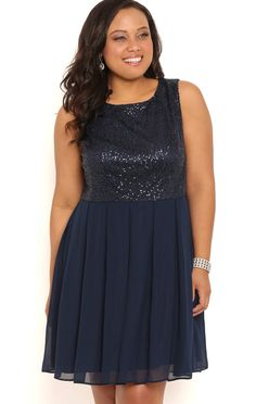 Deb Shops Plus Size Short Sequin Chiffon Dress with Pleated Skirt $36.30