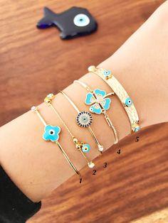 Evil Eye Jewelry, Evil Eye Bracelet, Eye Necklace, Fashion Bracelets, Bangle Bracelets, Bangles, Gold And Silver Bracelets, Silver Rings, Cute Jewelry