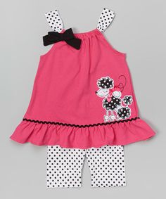 Another great find on #zulily! Pink Poodle Tank & Dot Shorts - Infant, Toddler & Girls #zulilyfinds