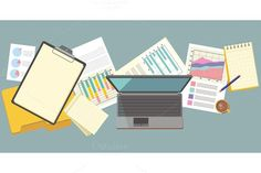 Work Table Document and Laptop. Business Infographic