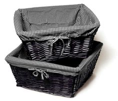 Not sure I like quite this much black, but white baskets with checked lining would be cute for storage.