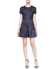 BCBGMAXAZRIA Marissa Short-Sleeve Metallic Lace Dress