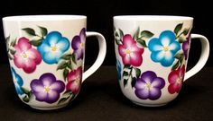 Hand Painted White Ceramic Floral Coffee by Allthatglass1 on Etsy, $22.00