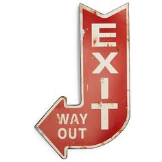 CREATIVE CO-OP 'Exit' Wall Sign ($24) ❤ liked on Polyvore featuring home, home decor, wall art, sign, text, red, words, interior wall decor, home wall decor and metal wall signs