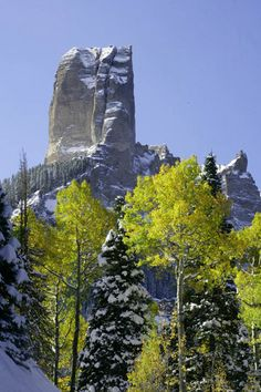 Beautiful contrast of the giant rock against the rich blue sky, looming over the crisp green Aspen leaves and the white snow covered trees below!