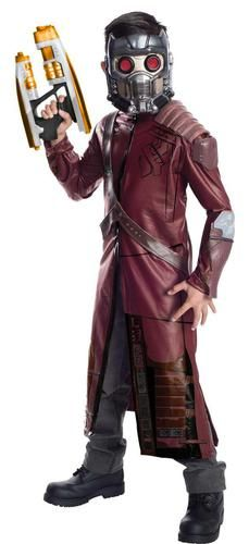 Be a hero in this Guardians of the Galaxy Deluxe Star-Lord Child Costume! The costume includes a jacket with molded components, bandolier and mask. Please note: shoes and weapon are not included. The