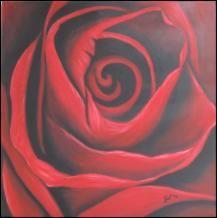 """""""Rose"""", Ölgemälde handgemalt auf Leinwand, nur als Kunstdruck.   40 cm x 40 cm x 4 cm"""