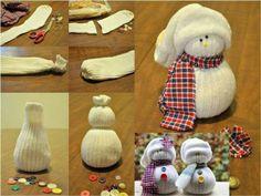 Reutilizando los calzetines haciendo un muñeco de nieve!