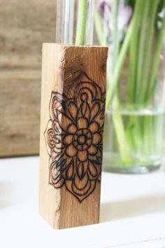 Cedar Wood Vase w/ Wood Burning Mandala Pattern & Glass Test Tube/Pyrography/Funktini Art/Wood Home Decor/Hanging Vase / Mother's Day Gift by Funktini on Etsy