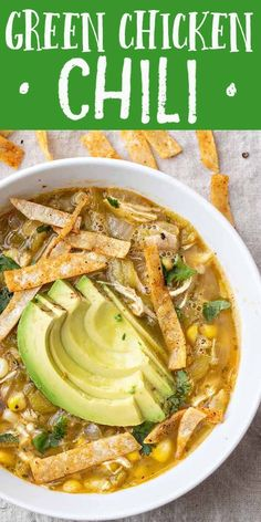 This Easy Green Chicken Chili uses mild roasted Hatch peppers and rotisserie chicken for a quick delicious kid-friendly soup Use fresh-roasted frozen or jarred Hatch chiles We love it topped with crispy tortilla chips and sliced avocado Easy Appetizer Recipes, Healthy Soup Recipes, Seafood Recipes, Mexican Food Recipes, Cooking Recipes, Green Chili Recipes, Dinner Recipes, Soup Appetizers, Oven Cooking