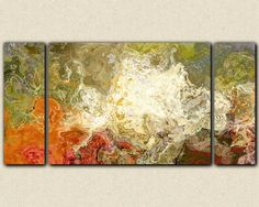 "Large triptych contemporary art canvas print, 30x60 to 40x78 in olive greens and rusty oranges, from abstract painting ""Chrysanthemum""  $375 - $500 depending on size"