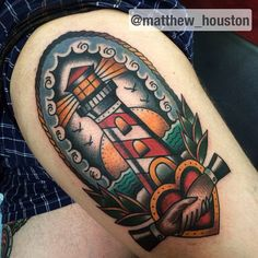 Lighthouse today on Filip #lighthouse #handshake #heart #traditional #tattoo #boldwillhold