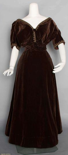 Chocolate brown cotton velvet ensemble (with silk braid-trimmed evening bodice), c. 1905.