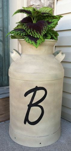 Monogrammed Old Milk Container