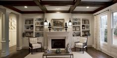 Large Open Living Room with a Dark Wood Coffered Ceiling – Madison Model, Lake Haven of Crabapple – via Edward Andrews Homes
