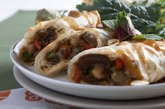 moroccan phyllo dough rolls - vegeterian (for me without the fennel)