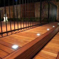 fancy outdoor deck floor lighting photos - deck - patio y Deck Stair Lights, Solar Deck Lights, Stair Lighting, Lighting Ideas, Outdoor Deck Lighting, Landscape Lighting, Melbourne, Garden Floor, Timber Deck