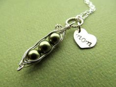 MOTHER GIFT Peas in a Pod Necklace Mom Heart by BlueDoveStudio, $32.00