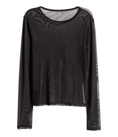 Pitkähihainen mesh-pusero | Musta | Naiset | H&M FI