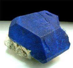 Lazurite -  a Tectosilicate mineral with sulfate, sulfur and chloride with formula: (Na,Ca)8[(S,Cl,SO4,OH)2|(Al6Si6O24)]. It is a feldspathoid and a member of the sodalite group. A superb large beautiful blue , well terminated -  Miniature (4.5-7 cm)  Size: H:6.7cm x W:5.5cm x D:3cm  from famed legendary locality Lajwar Madan , Sar-e-sang , Badakhshan , Afghanistan.