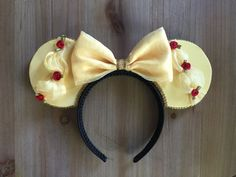 Belle inspired Mouse Ears from one of our favorite Classic Disney Movie! The mouse ear/headbands is made with various fabric and trim and