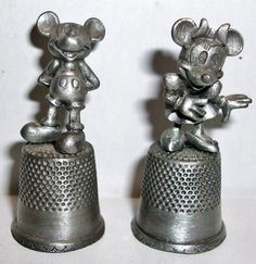 Disney Mickey Mouse Minnie Mouse Pewter Thimbles | eBay