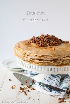 This baklava crepe cake is a unique twist on the traditional baklava with all the same favorite flavors.
