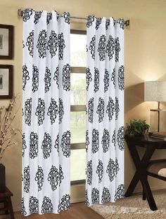 Luxurious Medallion Print Grommet Curtain Panels Window Drapes 84 Inch X 54 Set Of 2 White Black