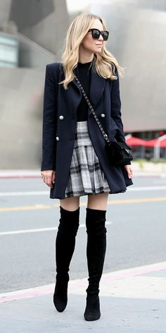 Helena Glazer + navy pea coat + black mock neck bodysuit + black and white tartan pleated skirt + black over the knee suede boots  Jacket: Zara, Bodysuit: Only Hearts, Skirt: ASOS, Boots: Stuart Weizman, Bag: Chanel. Spring Outfits