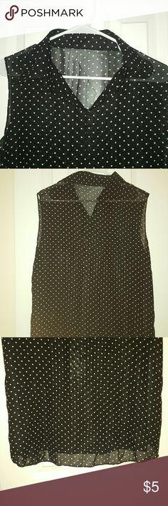 Sheer black and white polka-dot blouse No tags, collared blouse, see through , polka dot no brand Tops Blouses